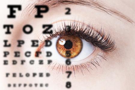 concepts alphabet: Close up image of human eye through eye chart
