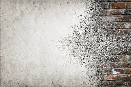 disintegrate: Background. Old brick wall abstract