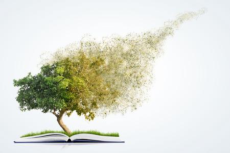boek van de natuur met gras en bomen groei en desintegreren, op een witte achtergrond