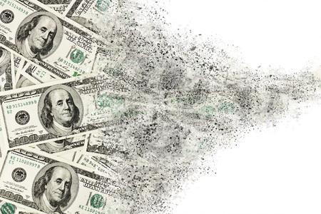 crisis economica: Dinero americano de cien dólares billetes de desintegración. Resumen de fondo USD Foto de archivo