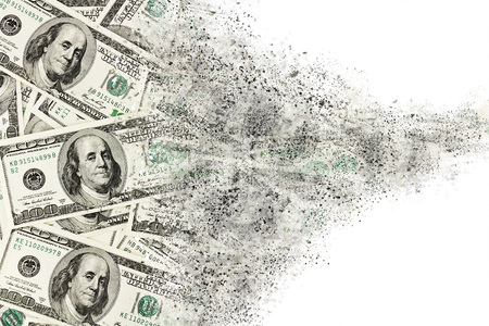 money exchange: Money american hundred dollar bills disintegration. Abstract USD background