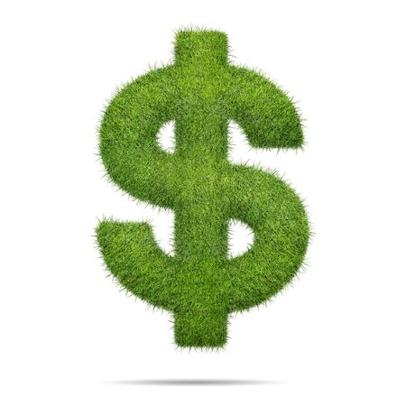 currency symbol: Dollar sign shape of green grass isolated on white background