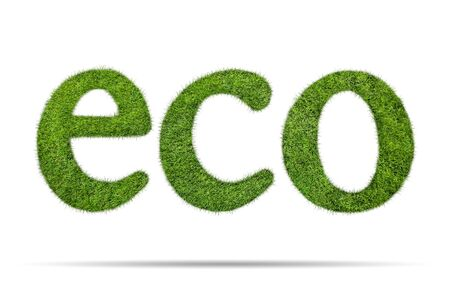 ecological environment: Eco word shape of green grass isolated on white background