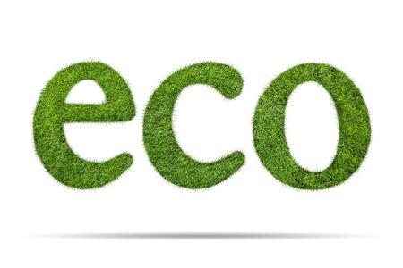 frescura: palabra forma eco de la hierba verde aislado en el fondo blanco