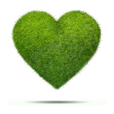 Heart shape of green grass isolated onwhite background Stock Photo