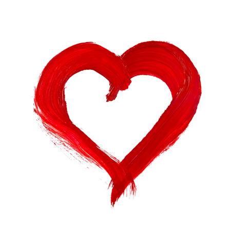 handpainted heart shape on white background