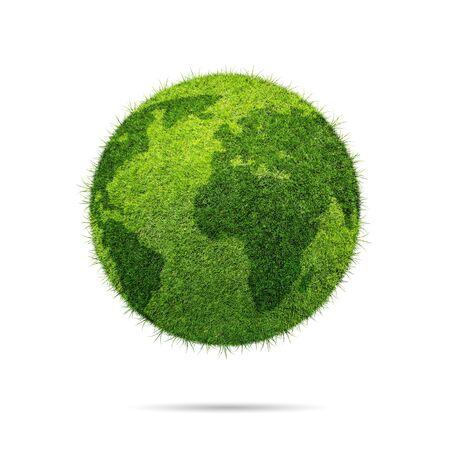 green world: World globe shape of green grass isolated on white background