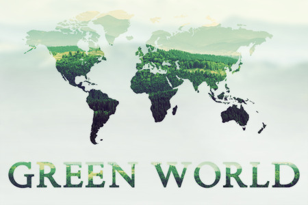 green world: Double exposure of green mountains forest and world map. Nature concept background