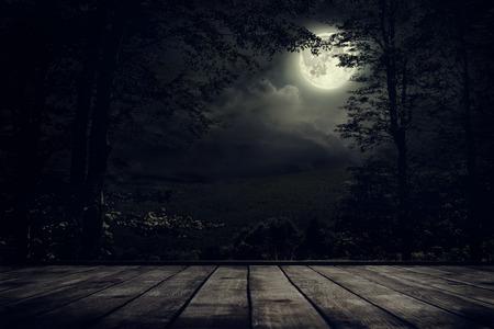 noche y luna: Noche paisaje de montañas con luz de luna. Belleza de la naturaleza de fondo