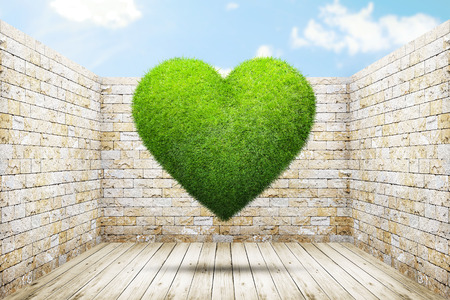 heart abstract: Heart shape of green grass into old room background. Abstract concept illustration Stock Photo
