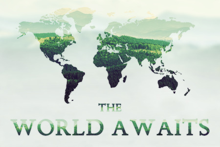 green world: Double exposure of green mountains forest and world map with text The World Awaits. Nature concept background Stock Photo