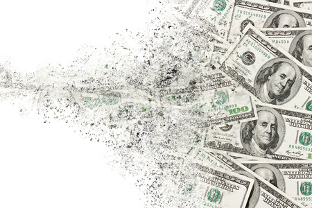 Money american hundred dollar bills disintegration. Abstract USD background