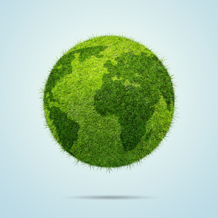 green world: World globe shape of green grass isolated on blue background