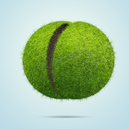 half globe: Grass ball over blue background
