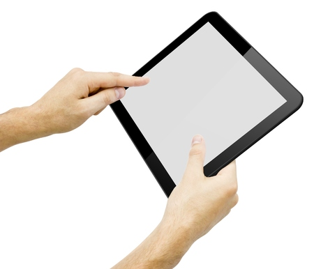 Black tablet pc in hands on white background. Portable computer Stock Photo