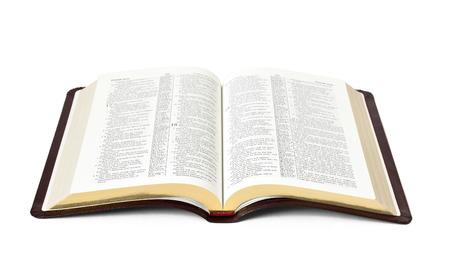 open het boek van de Heilige Bijbel geïsoleerd op witte achtergrond Stockfoto