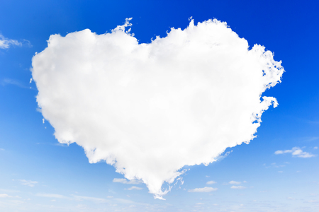 cloud shape: heart shape of cloud on blue sky background