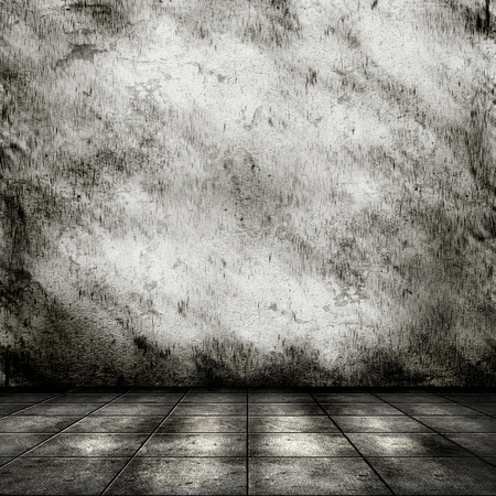 tile floor: Dark room with tile floor and old grunge wall background Stock Photo