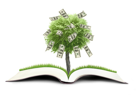 bank book: Money treebook grow from book nature on sky background