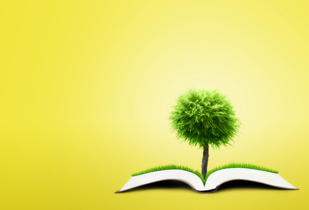 tree of knowledge: book of nature on yellow background