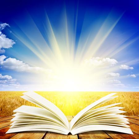 Open boek op houten plank over zonsondergang stralen. Onderwijs concept achtergrond