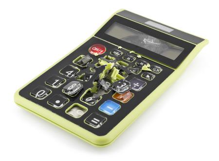 spoilt: Broken Calculator on White Background