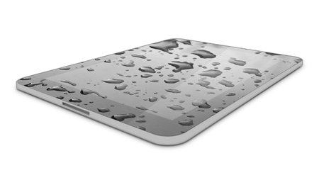 it background: Touch Screen Tablet Computer PC with Water Drops on it. Background Stock Photo