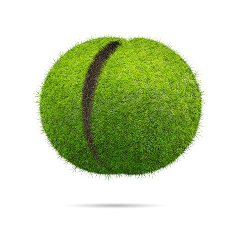 half ball: Grass ball over blue background