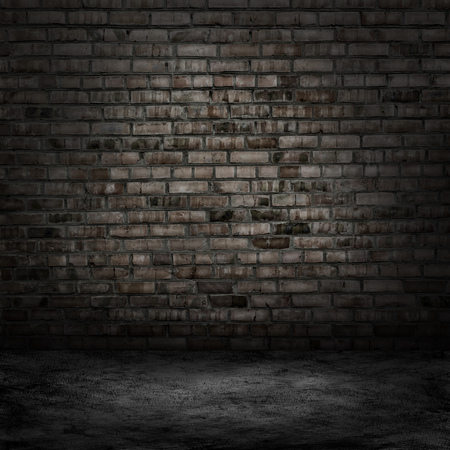 abandon: Dark room with tile floor and brick wall background