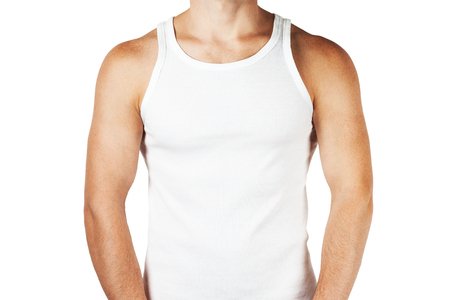 Young man wearing white blank tank top isolated on white background