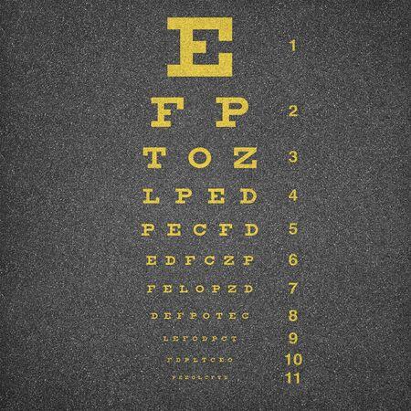 Eye chart oner asphalt background Stock Photo