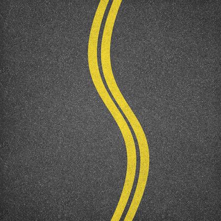 黄色の線とアスファルトのテクスチャ背景 写真素材