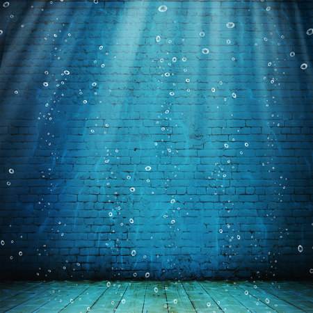 Vintage interior underwater. Abstract illustration background