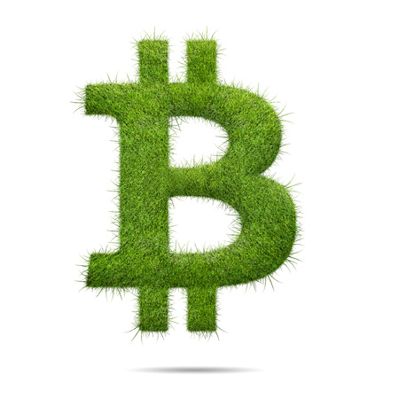 Bitcoin sign shape of green grass isolated on white background Фото со стока