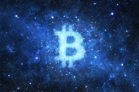 Abstract bitcoin sign shape in space background. Elements of this image furnished by NASA