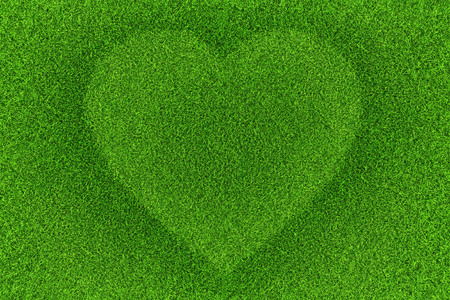 Green grass with heart shape background. Top view
