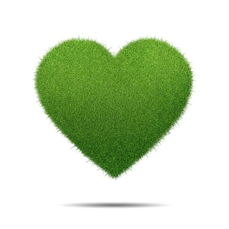 flirting: Heart shape of green grass isolated on white background
