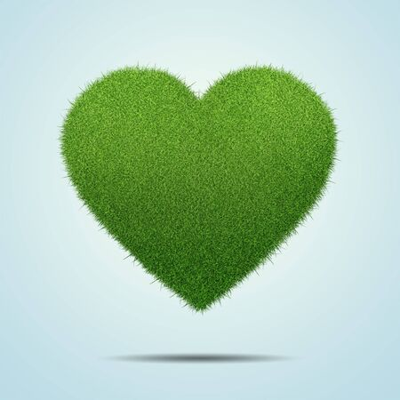flirting: Heart shape of green grass isolated on blue background Stock Photo