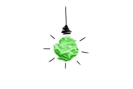 Imitation of lightbulb with cracked paper inside. Inspiration concept background
