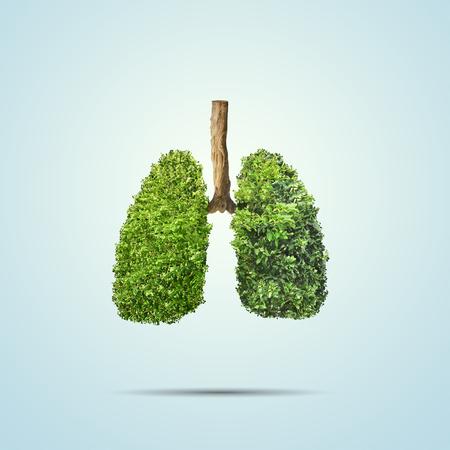 Groene bladeren gevormd in menselijke longen. Conceptueel beeld