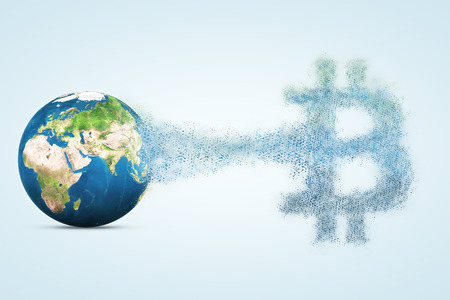 Earth planet collapses into bitcoin. Abstract finance illustration.