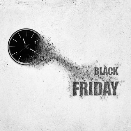 Classic clock on white concrete background disintegrate in a small parts and flying into words Black Friday. Time flying concept
