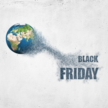 World disintegrate in a small parts and flying into words Black Friday. Commerce concept. Stock Photo