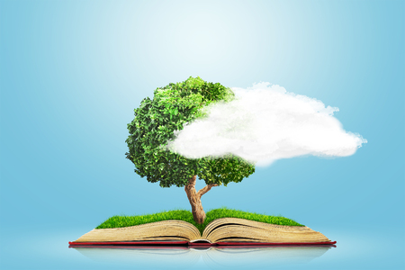 Open book with green grass field and tree on it isolated over blue background. Concept image