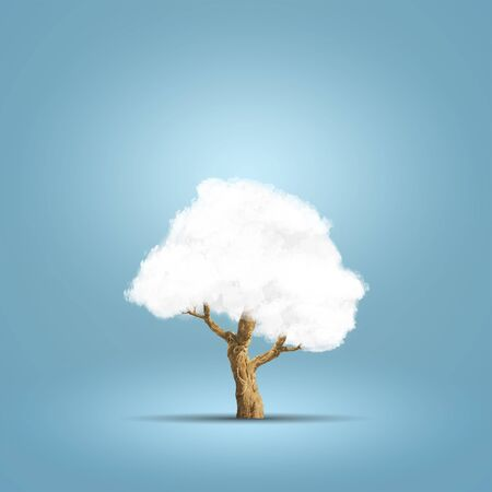 Abstract image of cloud tree over blue background. Conceptual image Foto de archivo
