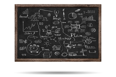 Business sketches over blackboard background Stock Photo