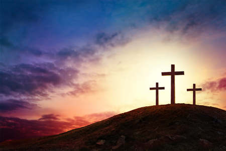 Silhouette cross on Calvary mountain sunset background. Easter concept 스톡 콘텐츠 - 97913696