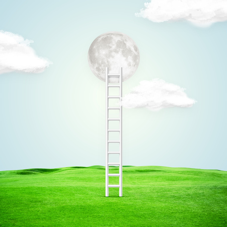 Conceptual image with ladder leading to white moon over blue background. Stockfoto