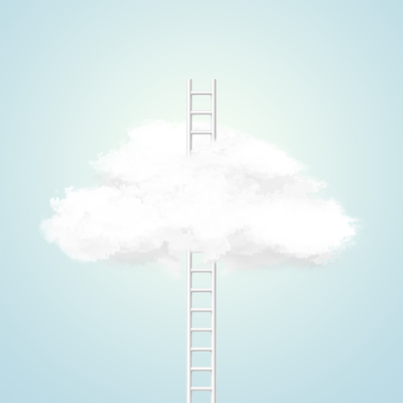 Conceptual image with ladder leading to white cloud over blue background