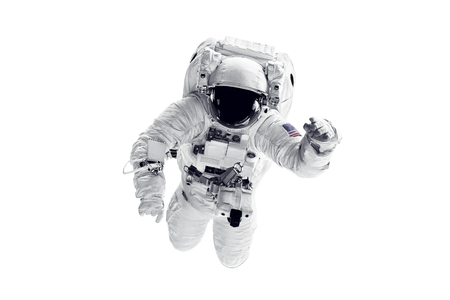 Astronaut in space suit over white background.